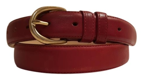Vintage Oxblood Red Leather Belt with Gold Tone Buckle 38