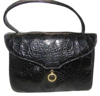 VINTAGE TURTLE SKIN LEATHER Wristlet in BLACK
