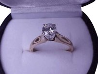 $5500 .71 ct Solitaire Brilliant cut Diamond 14k White and Yellow Gold Engagement Ring, Appraisal Included!