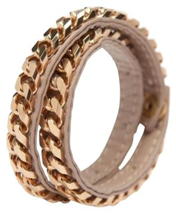 Vita Fede Vita Fede Monaco Rose Gold Toned Double Wrap Nude Lamb Leather Chain Bracelet