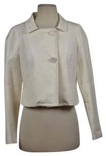 Vivienne Tam Vivienne Tam Womens Off White Blazer Cotton Textured Long Sleeve Career