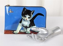 Vivienne Westwood Cat Kitten Blue Patent Leather Pouch Multi-Color Clutch