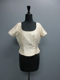 Watters And Short Sleeve Beaded Back Zip Sm9045 Top Ivory