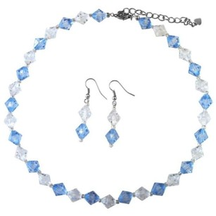 Wedding Bridemaids Lite Blue Clear Immitation Crystals Jewelry Set
