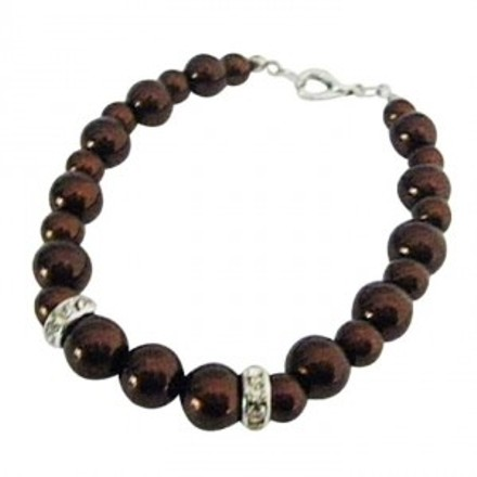 Wedding Prom Birthday Party Gift Brown Pearls Inexpensive Bracelet