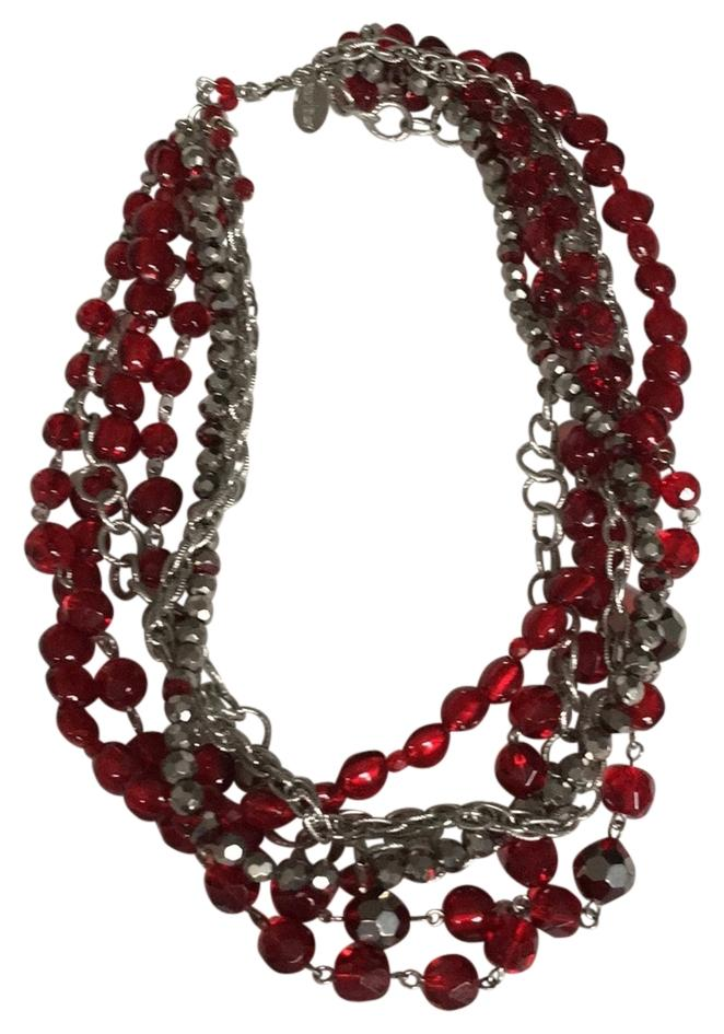 WHBM Multi-strand Red Bead Necklace