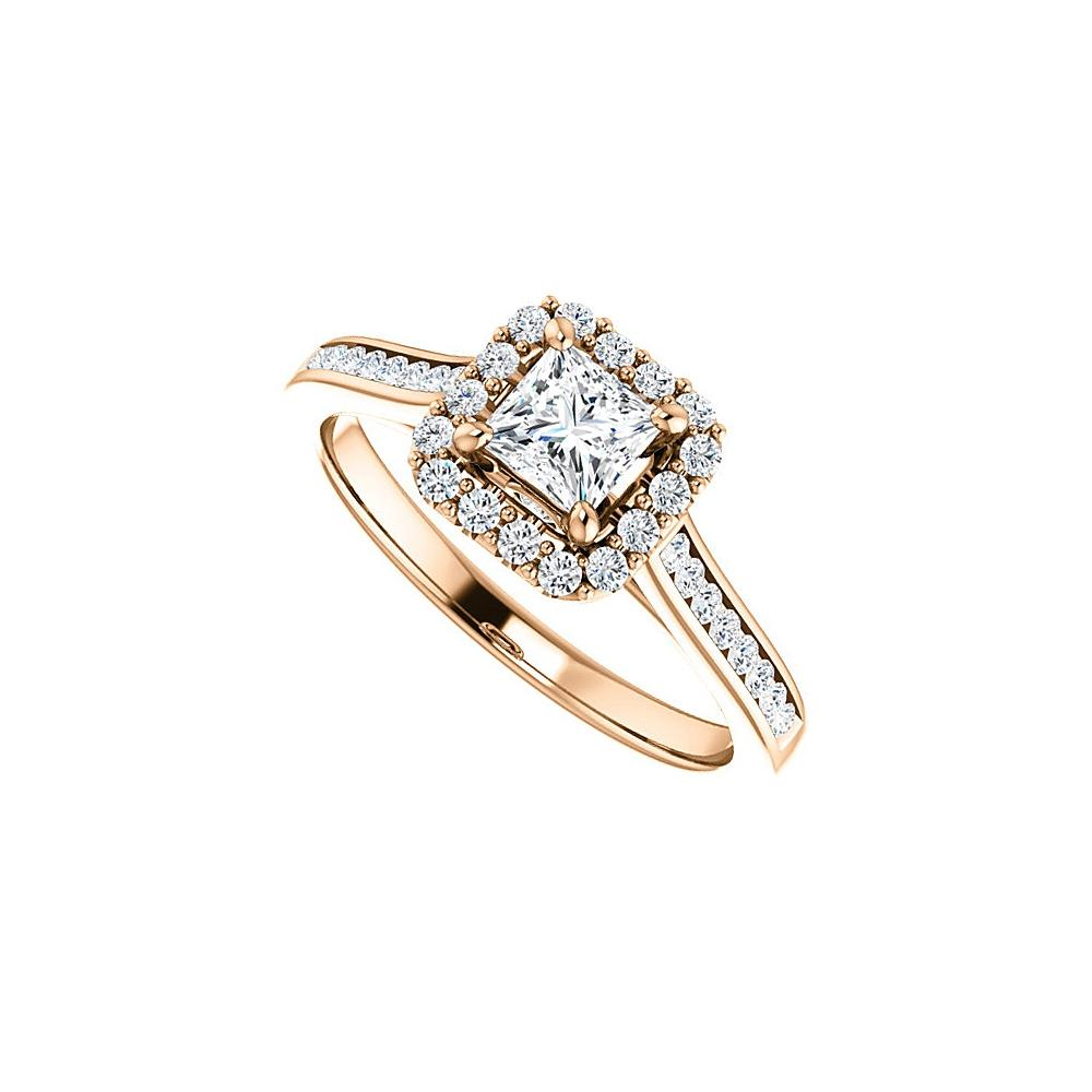 White 14k Rose Gold Square Cz Halo Style For Your Love Ring Tradesy