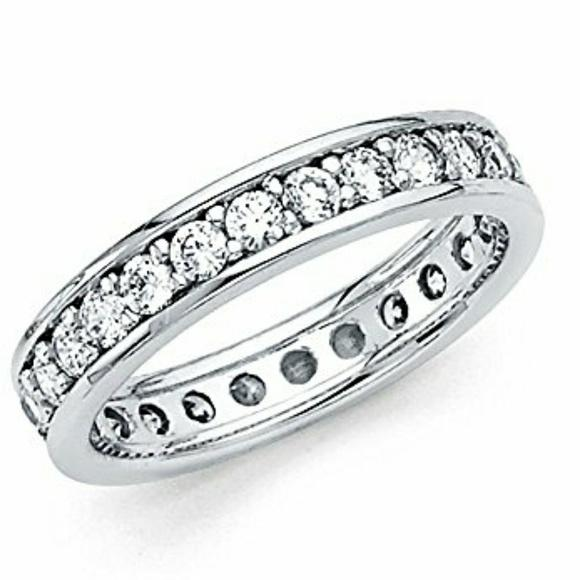 White Gold 14k Solid Eternity Size 6 Womenu0027s Wedding Band