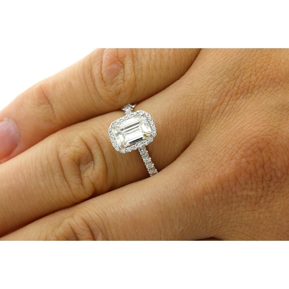 white gold 182 cts emerald cut diamond with halo set in