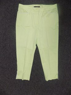 Willi Smith Stretchy Solid Ankle Slit Capri 1656a Capri/Cropped Pants Lime Green