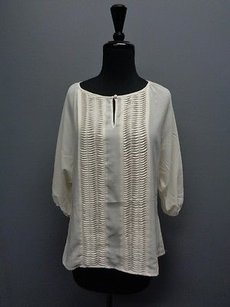 Willi Smith W 34 Sleeves W Textured Stripes Polyester Sma4880 Top Ivory