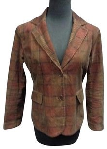 Womyn Womyn Red Brown Plaid Cotton Two Button Collared Blazer Jacket Sma7513