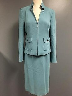 Worth Worth Blue Wool Blend Zip Blazer And Knee Length Pencil Skirt Suit Sma4723
