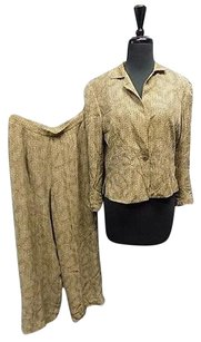 Worth Worth Brown Geo Print Silk Lined One Button Jacket And Pant Suit Sma12068