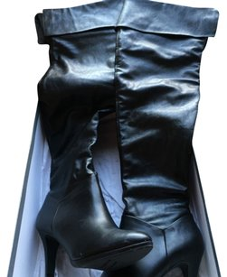 Worthington Leather Boot Above Knee Boot Black Boots