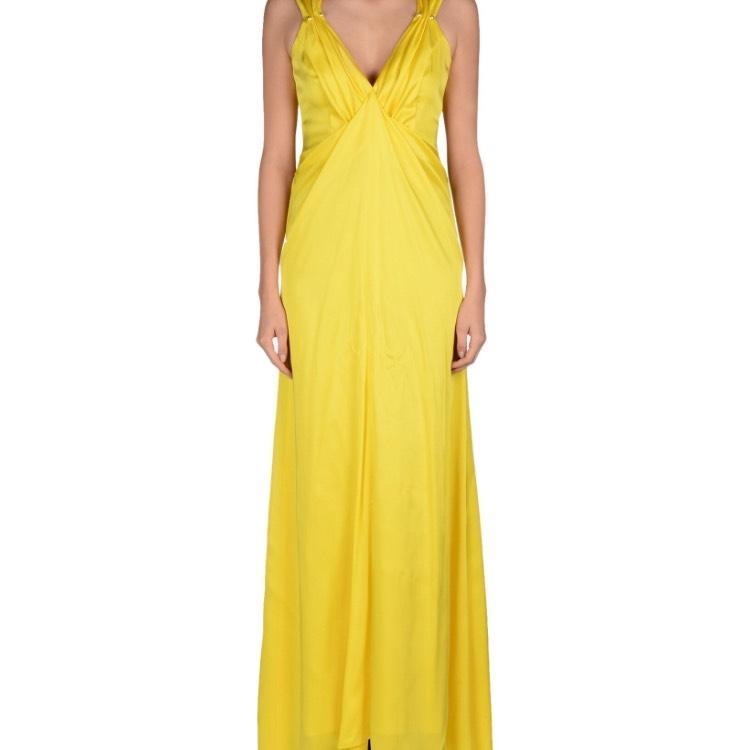 Yellow Party Long Casual Maxi Dress Size 4 (S)