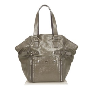 Saint Laurent Green Leather Patent Leather 6byshb002 Tote