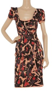 Zac Posen Leopard Silk Print Sheer Dress