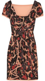 Zac Posen Leopard Silk Print Sheer Sheath Dress