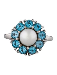 18k Signed And Numberd Zacan Italy Ring With South Sea Pearl Topaz