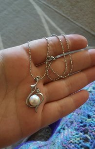 Zales 10/11mm Natural Pearl Crystal Infinity Pendant Necklace