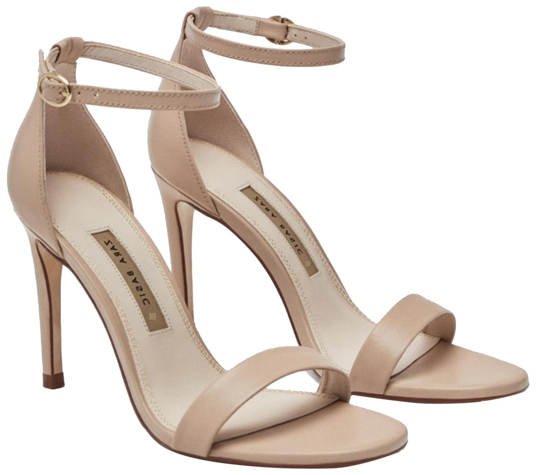 Zara Beige Leather High Sandals Size US 10 Regular (M, B)