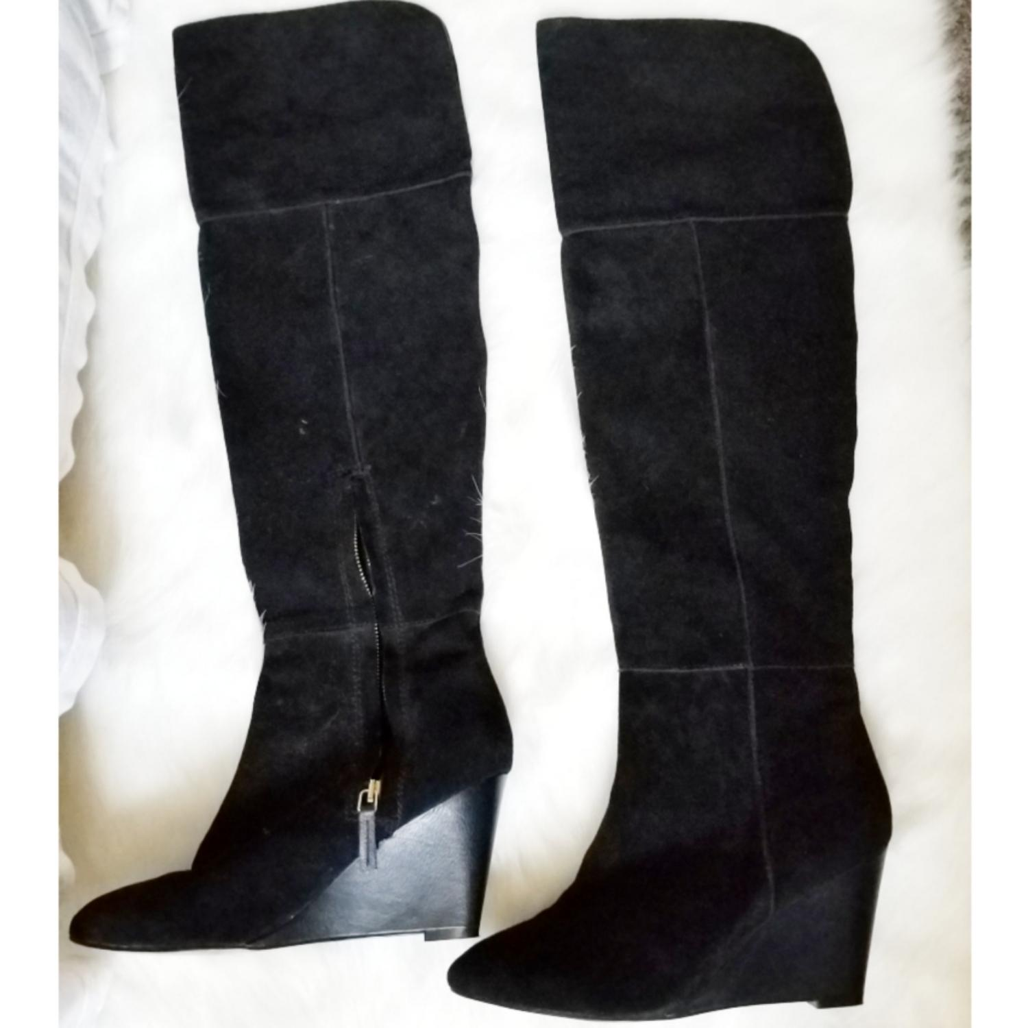 ef28a0ba5d8 Zara Zara Zara Black Over The Knee Wedge 6.5 Boots Booties Size EU 37 (. Steve  Madden Brown ...