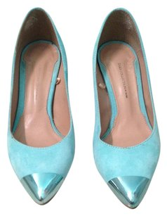 Zara Hardware Pump COLLECTION Aqua MINT Suede and Metallic Cap Toe Heels Pumps SUEDE 36 Pumps