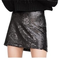 Zara Sequin Mini Mini Skirt Black