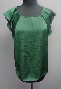 Zara Basic Forest Polyester Casual Ruffled Cap Sleeve Sm2501 Top Green
