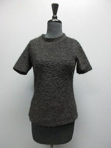 Zara Collection Short Sleeves Mock Neck Fuzzy Solid Casual Sm13495 Sweater